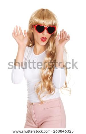 Sexy beautiful blonde woman in sunglasses. - stock photo
