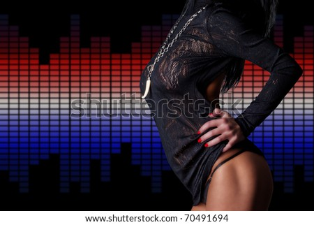 Sexy beautiful body over equalizers - stock photo