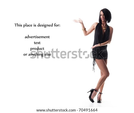Sexy beautiful lady shows your product - stock photo