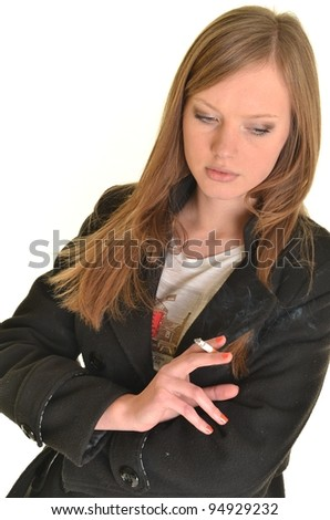 sexy beautiful woman holding a cigarette - stock photo