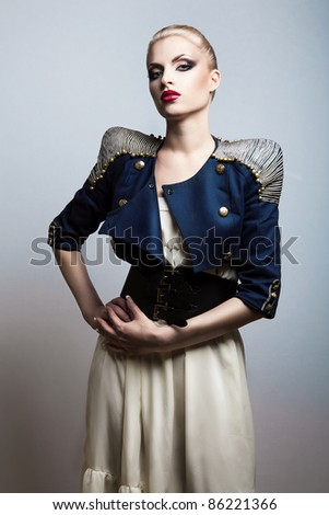 sexy beautiful woman in dark blue jacket - stock photo