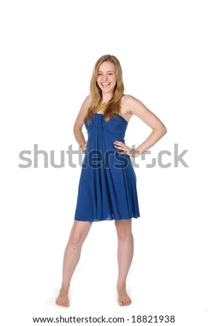 sexy beautiful woman in short blue dress - stock photo
