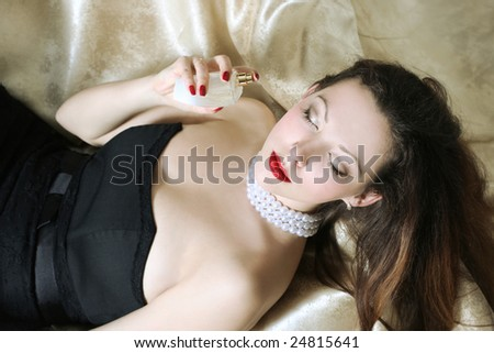 sexy beautiful woman smell perfumes