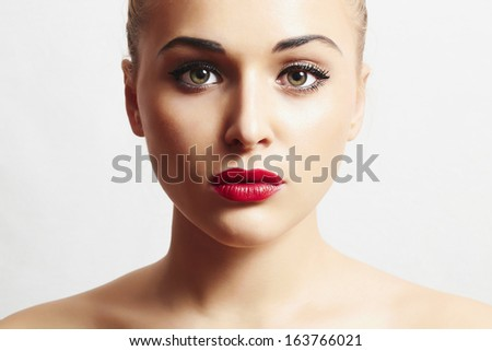 sexy beautiful woman with red lips.portrait.make-up - stock photo