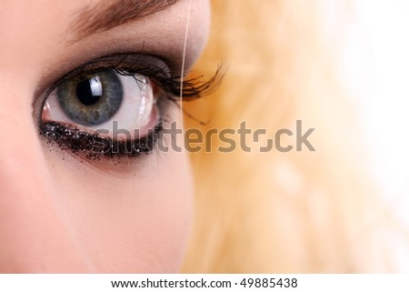 sexy beautiful young woman with make-up - stock photo
