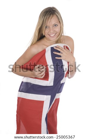 sexy beautiful young woman wrapped into a Norwegian flag - stock photo