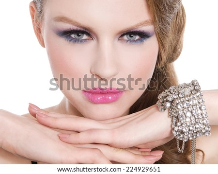 Sexy Beauty Girl with Red Lips and Nails. Make up. Luxury - stock photo
