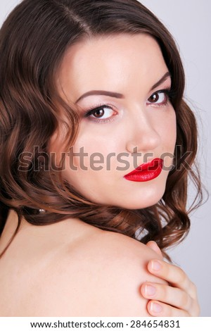 Sexy Beauty Girl with Red Lips and Nails. Provocative Make up. - stock photo