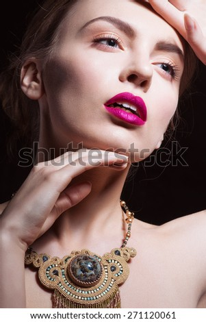 Sexy Beauty Girl with Red Lips and Nails. Provocative Make up. Luxury Woman with Blue Eyes. Fashion Brunette Portrait. Gorgeous Woman Face.  - stock photo