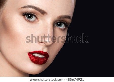 Sexy Beauty Girl with Red Shine Lips. Make up. Luxury Woman. Fashion Brunette Portrait on dark black background. Gorgeous Woman Face. Open Mouth. Makeup concept. Kiss.