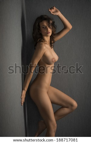 sexy beauty naked woman against gray wall , posing and looking in camera with sensual eyes - stock photo