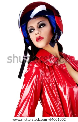 Sexy biker.  woman in red - stock photo