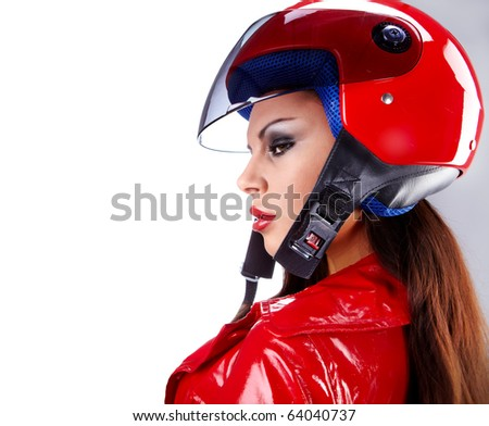 Sexy biker.  woman with red helmet - stock photo