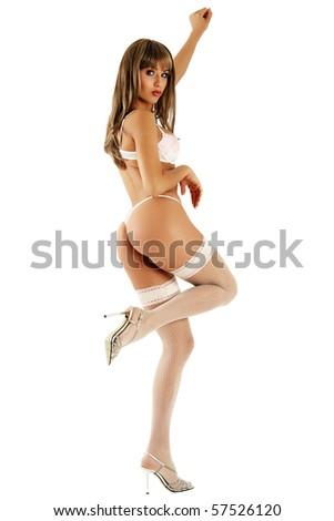 Sexy bikini model over white background. - stock photo