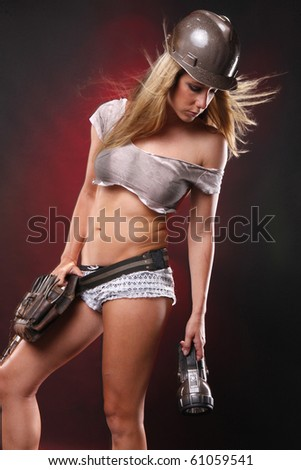 Sexy blond as utilities worker - stock photo
