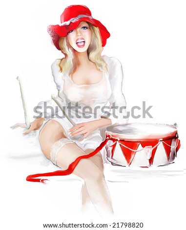 sexy blond striptease performer - stock photo