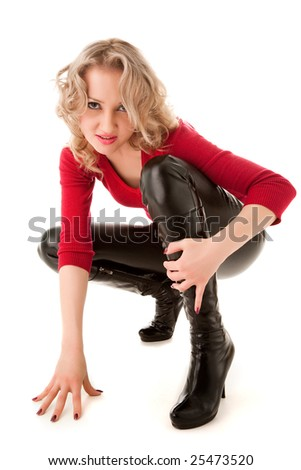 Sexy blond woman in high shoes