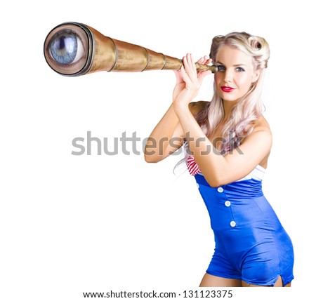 Sexy blond woman in sailor costume looking through telescope with blue eyeball in end, white background.