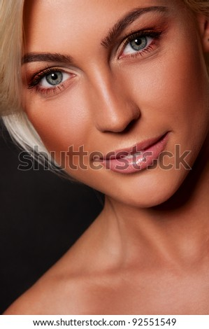 sexy blond woman with magnificent lips - stock photo