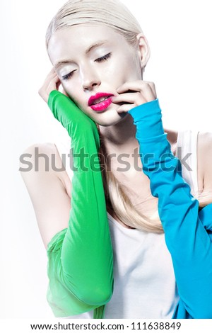 sexy blond women whith red lips and perfect skin color dress sexy looking on white background - stock photo