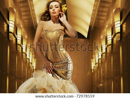 Sexy blonde beauty posing - stock photo