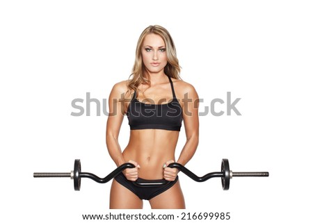Sexy blonde fitness model workout with olympic curl bar, isolated on white - stock photo
