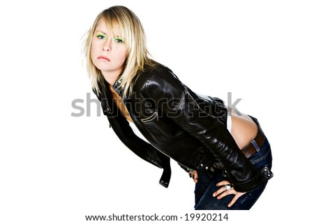 Sexy Blonde Girl in Leather Jacket Bending Forward - stock photo