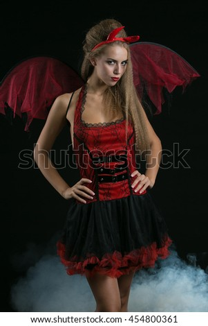sexy blonde  girl wearing a halloween costume