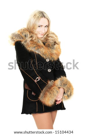 Sexy blonde in sheepskin