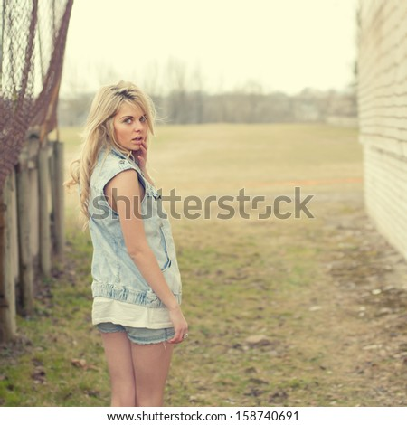 sexy blonde on the street - stock photo