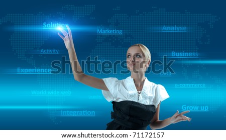 Sexy blonde touches solution. Concept of pure new technologies, finding right solution, good integration, gaining business experience, sales growing up and much more. - stock photo