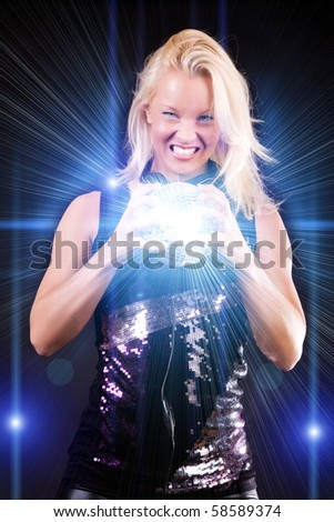 Sexy blonde with disco sphere - stock photo