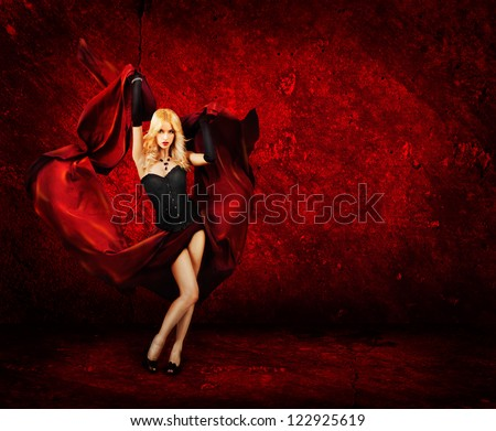 Sexy Blonde Woman with Red Silk