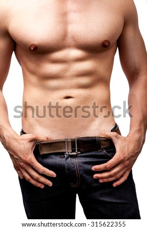 Sexy body of man with muscular chest and six packs - stock photo