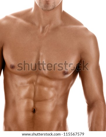 Sexy body of 	nude muscular athletic guy, isolated on white