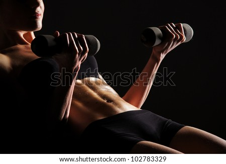 Sexy body of young attractive sporty  belly - stock photo