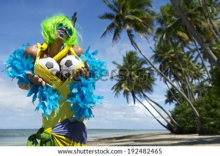 Soccer Ball On Tropical Beach