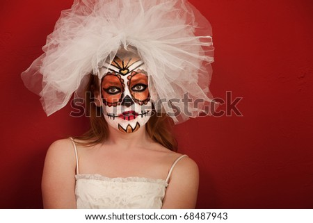 Sexy bride in makeup for All Souls Day - stock photo