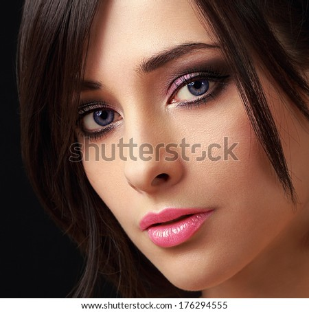 Sexy bright makeup woman with long lashes. Closeup portrait - stock photo