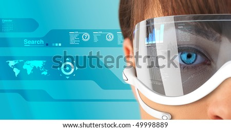 Sexy brunette in future glasses and headset close-up (outstanding business people in interiors / interfaces series) - stock photo