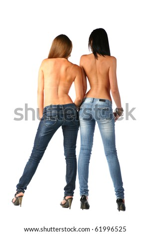 sexy brunette in jeans - stock photo