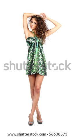 sexy brunette in parti-coloured dress isolated on white background - stock photo