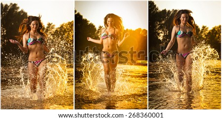 Sexy brunette woman in swimsuit running in river water. Sexy young woman playing with water during sunset. Beautiful woman wearing bikini enjoying the water  in the evening, frontal view - stock photo