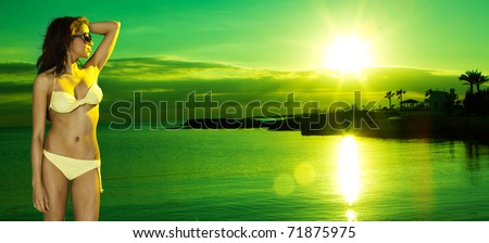 sexy brunette woman on the palm beach at sunset party - stock photo