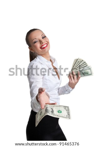 sexy business woman give a dollar with defiance - stock photo