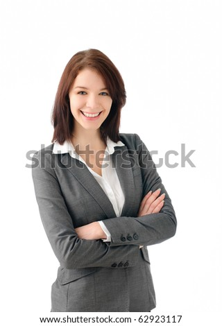 Sexy business woman smiling - stock photo