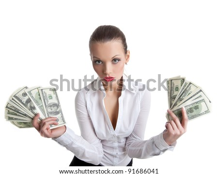 sexy business woman take a bundle of money - stock photo