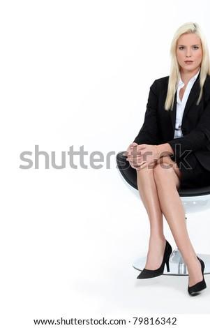 Sexy businesswoman on white background - stock photo