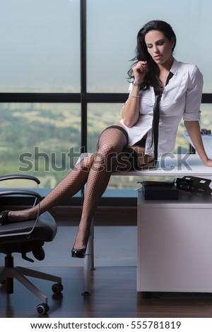 Sexy Corporate Woman White Shirt Black Stock Photo