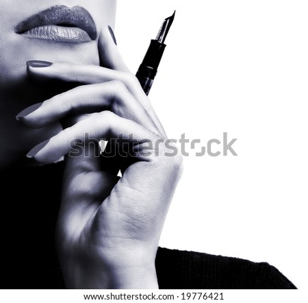 Sexy businesswoman teacher student woman girl holding a pen in her hand lipstick lipgloss makeup fountain pen thinking - stock photo